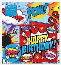 Birthday Gift Wrapping Set Card Paper Sheets Tags Comic Superhero Mens Boys Kids