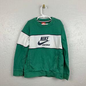 Nike Sportswear Size S Green White Crew Neck Sweatshirt Snap Pockets