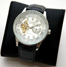 NEW Croton Ci331077 Men's White Dial Silver Accent Black Leather Automatic Watch