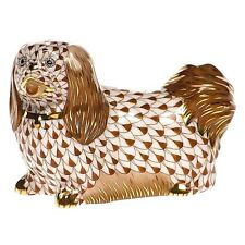 HEREND, PEKINGESE DOG FIGURINE, CHOCOLATE  FISHNET, FLAWLESS, RETAIL $425