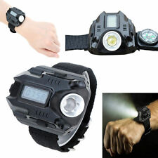120LM Tactical Rechargeable LED Wrist Watch Bracelet Flashlight Torch w/ Compass