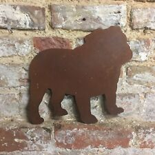 Rusted British English Bulldog Dog Letter Sign Metal Home Plaque Ornament