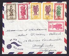 6 Tribal Art Belgisch Congo Belge Belgium Belgian stamps on 1949 Air Mail cover
