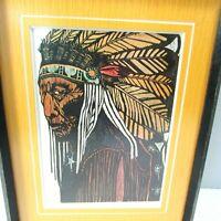 Vintage Chief Color Woodcut Print PAT GOLDEN Native American Fine Art Block