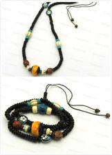 Tibet Imitation Yellow Beeswax/Blue Gold cloisonné Triple Wrap Bracelet Necklace
