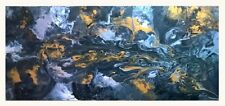 XL 120x60cm Modern Black Silver Gold Orig Painting Abstract Canvas Painting Art
