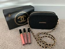 NEW Authentic CHANEL Holiday Gift Pouch Lipgloss Sheer Sensation Trio w/ Chain
