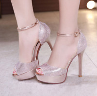 New Womens Sandals High Heel Rhinestone Wedding Shoes Ladies Peep Toe Party Prom