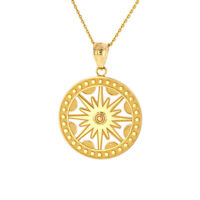 Solid Gold Or 925 Silver Textured Openwork Flaming Sun Pendant Necklace