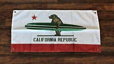 California Republic Banner State Flag Surfing Bear Surfboard Surfer Board New
