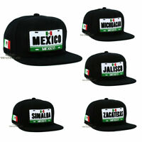 MEXICAN Hat MEXICO States License Plate Style Snapback Flat Bill Baseball Cap