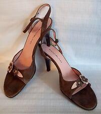 Bandolino Sandals Heels Brown Pink Flower Suede Slingback Marguisef Womens Shoes