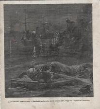 Stampa antica GIUSEPPE GARIBALDI fugge da Caprera 1888 Old antique print