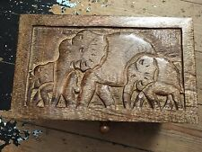 Wooden Vanity Jewellery Trinket Box with  Elephant Carving