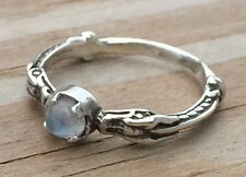 Celtic Dragon Ring .925 Sterling Silver sz 6 w/ Natural Rainbow Moonstone