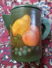 Beautiful Vintage hand painted Toleware Wooden Pitcher with Tole Painting of Fru