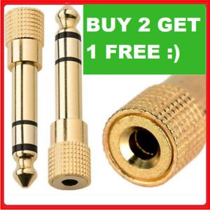 3.5mm Female to 6.5mm Male GOLD Headphone Adapter Jack Socket Plug Converter