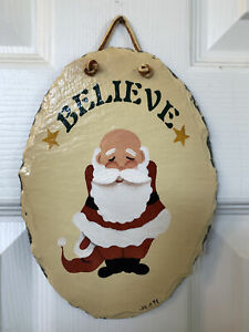"""NEW PLAIN JANE Unique Hand-Crafted Slate Wall Plaque """"Believe"""" Santa 1998"""