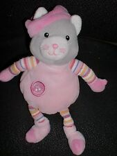 Doudou peluche chat gris rose musical HS GIPSY 20cm