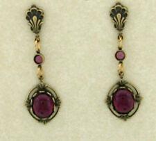 24k Gold Plt Vintage Bezel Set Amethyst Cabochon Surgical Steel Drop Earrings