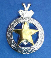 Western Jewelry Bright Silver/Gold Engraved Star Concho Pendant Kit