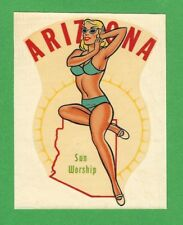 "VINTAGE ORIGINAL 1948 ""MISS ARIZONA"" STATE SEXY PINUP GAL TRAVEL WATER DECAL ART"