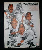 1974 Baltimore Orioles Official Scorecard~Boston vs. Baltimore Sept.2, 1974