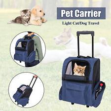 Pet Carrier Dog Cat Rolling Backpack Travel Luggage Bag Airline Approved Blue