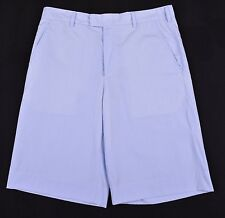 Steven Alan Blue & White Micro Stripe 100% Cotton Casual Flat Front Shorts 32