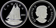 CANADA 10 CENTS 2004 (GEM PROOF) *SCARCE 925 STERLING SILVER TYPE*