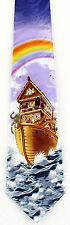Noah's Ark Men's Neck Tie Christian Religious Bible Story Animal Blue Necktie