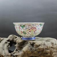 Collect Chinese jingdezhen Porcelain Famille Rose Lotus Leaf Lotus Flower Bowl