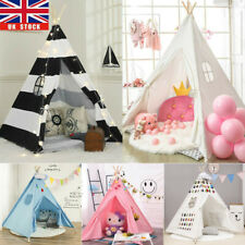Indian Canvas Teepee Children Playhouse Kids Play Tent for Indoor Outdoor White