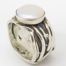Vintage 925 Sterling Silver Genuine Pearl Modern Design Wide Ring Size 9 14.3g
