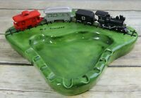 Vintage Train Ashtray Folk Art OOAK Handmade Railroad Ceramic Engine Caboose