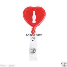 Coca-Cola Coke Bottle Shape Inside Heart Shaped Badge Holder/Lanyard. *Free Ship