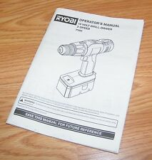 Genuine Ryobi 18 Volt 2 Speed (p200) Drill Driver Operator's Manual Only *READ*