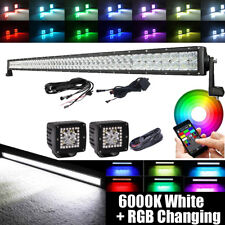 """52Inch LED Light Bar RGB Multi-Color Changing+ 2x 3"""" CREE Pods Offroad Ford Jeep"""