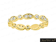 Natural 0.50Ct Diamond Alternating Twist Eternity Band Ring 14k Yellow Gold F VS