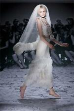 New Lanvin Feather-trimmed Georgette Wedding Dress and Veil