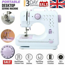 Electric Sewing Machine Portable Mini 12 Stitches 2 Speeds Foot Pedal LED UK