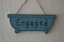 Lovely Decorative Handcrafted Dark Duck Egg Blue ENGAGED / VACANT Wooden Sign