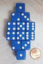 DICE SALE 16mm OPAQUE BLUE WITH WHITE PIPS! ONE DOZEN! ON SALE NOW!