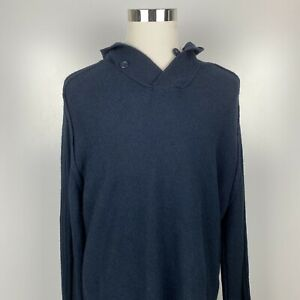 Davis & Squire Men's XL Navy Blue Wool Blend Pullover Casual Sweater w/Hood New