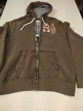 Abercrombie & Fitch Distressed Brown Zip-Up Hoodie Men's Size XX-Large  2XL