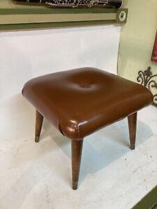 Vintage Mid-Century Modern Ottoman Footstool Tapered Legs Brown Vinyl Hassack