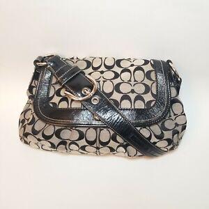 Coach Signature Vintage Canvas & Leather Hobo Shoulder Bag Bohemia L0985-F13739