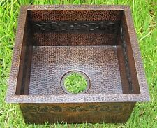 *Copper Bar Sink 16x16x8 flower /copper Hammered handmade !!
