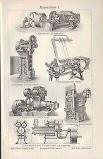 Lithografie 1906: Mauersteine. Ofen Kohle ZIEGELEI-TONWARENFABRIKATION Maschinen