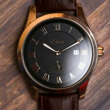 Gold Leather watch mens automatic